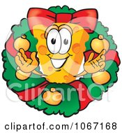 Clipart Cheese Mascot In A Christmas Wreath Royalty Free Vector Illustration