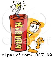 Clipart Cheese Mascot With Dynamite Royalty Free Vector Illustration by Toons4Biz