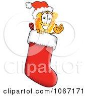 Clipart Cheese Mascot In A Christmas Stocking Royalty Free Vector Illustration by Toons4Biz