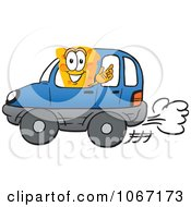 Clipart Cheese Mascot Driving Royalty Free Vector Illustration by Toons4Biz