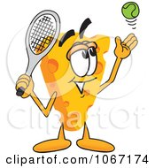 Clipart Cheese Mascot Playing Tennis Royalty Free Vector Illustration by Toons4Biz