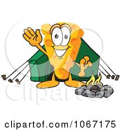 Clipart Cheese Mascot Camping Royalty Free Vector Illustration by Toons4Biz