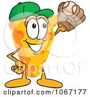 Clipart Cheese Mascot Playing Baseball Royalty Free Vector Illustration by Toons4Biz