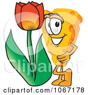 Clipart Cheese Mascot With A Tulip Royalty Free Vector Illustration
