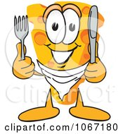 Clipart Cheese Mascot Holding Silverware Royalty Free Vector Illustration