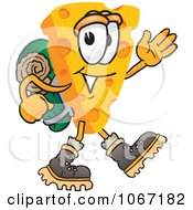 Clipart Cheese Mascot Hiking Royalty Free Vector Illustration by Toons4Biz
