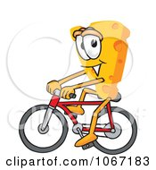 Clipart Cheese Mascot Bicycling Royalty Free Vector Illustration by Toons4Biz