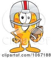 Clipart Cheese Mascot Playing Football Royalty Free Vector Illustration by Toons4Biz