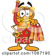Clipart Cheese Mascot In Red Snorkel Gear Royalty Free Vector Illustration by Toons4Biz