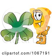 Clipart Cheese Mascot With A Shamrock Royalty Free Vector Illustration by Toons4Biz