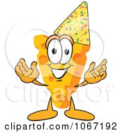 Clipart Cheese Mascot Wearing A Party Hat Royalty Free Vector Illustration by Toons4Biz