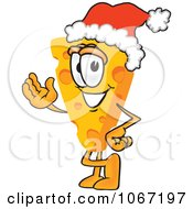 Clipart Cheese Mascot Wearing A Santa Hat Royalty Free Vector Illustration by Toons4Biz
