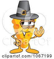 Clipart Cheese Mascot Wearing A Pilgrim Hat Royalty Free Vector Illustration by Toons4Biz
