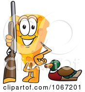 Clipart Cheese Mascot Duck Hunting Royalty Free Vector Illustration by Toons4Biz