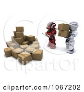 Clipart 3d Robot Stacking Shipping Boxes Royalty Free CGI Illustration