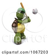 Clipart 3d Baseball Tortoise Batting Royalty Free CGI Illustration