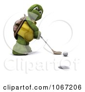 Clipart 3d Tortoise Golfing 3 Royalty Free CGI Illustration