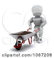 Clipart 3d White Character And Wheelbarrow Royalty Free CGI Illustration