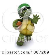 Clipart 3d Tortoise Playing Football 1 Royalty Free CGI Illustration