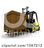 Clipart 3d Wooden Crate On A Forklift Royalty Free CGI Illustration