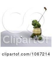 Clipart 3d Tortoise Golfing 2 Royalty Free CGI Illustration