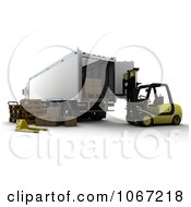 Clipart 3d Freight Truck And Forklift Royalty Free CGI Illustration