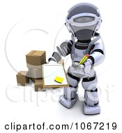 Clipart 3d Robot Asking For Delivery Signature Royalty Free CGI Illustration
