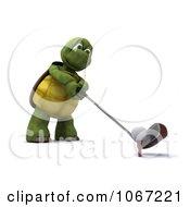 Clipart 3d Tortoise Golfing 1 Royalty Free CGI Illustration