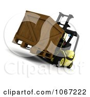 Clipart 3d Crate On A Forklift Royalty Free CGI Illustration
