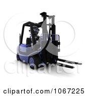 Clipart 3d Robot On A Blue Forklift Royalty Free CGI Illustration