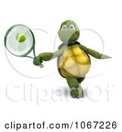 Clipart 3d Tortoise Playing Tennis 2 Royalty Free CGI Illustration
