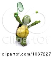 Clipart 3d Tortoise Playing Tennis 1 Royalty Free CGI Illustration