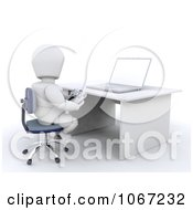Clipart 3d White Character Playing Internet Games Royalty Free CGI Illustration
