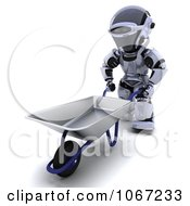 Clipart 3d Robot And Wheelbarrow Royalty Free CGI Illustration