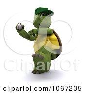 Clipart 3d Baseball Tortoise Pitching Royalty Free CGI Illustration