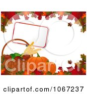 Clipart Autumn Pumpkins Sign And Fruit Bordered With Leaves Royalty Free Vector Illustration by elaineitalia