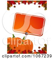 Clipart Autumn Pumpkins And A Sign Bordered With Leaves Royalty Free Vector Illustration