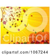 Clipart Autumn Leaves Blowing On Pumpkins Royalty Free Vector Illustration