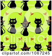 Clipart Seamless Halloween Black Witch Cat Pattern Royalty Free Vector Illustration by elaineitalia