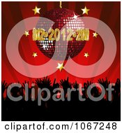 Clipart 2012 Disco Ball Over A Dance Party Crowd Royalty Free Vector Illustration