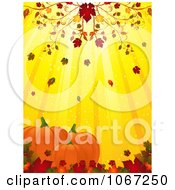 Clipart Autumn Leaves Falling On Pumpkins Royalty Free Vector Illustration