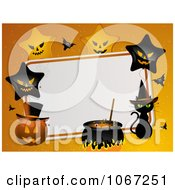 Clipart Halloween Party Background With Stars Pumpkins And A Witch Cat Royalty Free Vector Illustration