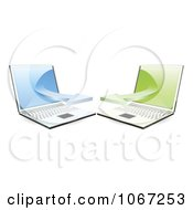 Clipart 3d Laptops Communicating On A Network Royalty Free Vector Illustration
