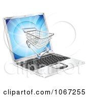 3d Shopping Cart On A Laptop Screen