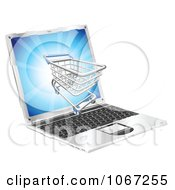 Clipart 3d Shopping Cart On A Laptop Screen Royalty Free Vector Illustration