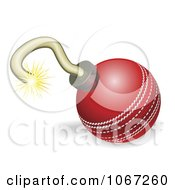 Clipart Cricket Ball Cherry Bomb With Lit Fuse Burning Down Royalty Free Vector Illustration by AtStockIllustration