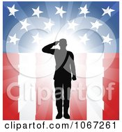 Clipart Silhouetted Military Soldier Saluting Over American Flag Royalty Free Vector Illustration
