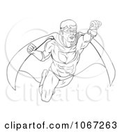 Clipart Outlined Super Hero In Flight Royalty Free Vector Illustration by AtStockIllustration