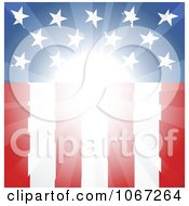 Clipart Bright Light Shining On A Vertical American Flag Royalty Free Vector Illustration
