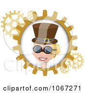 Blond Steampunk Woman And Gears